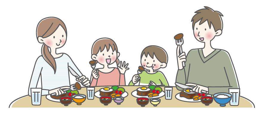 家族で食事をしているイメージ