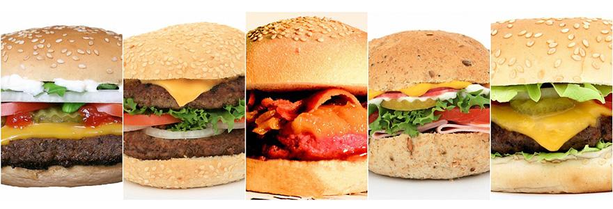 いろんな種類のハンバーガー