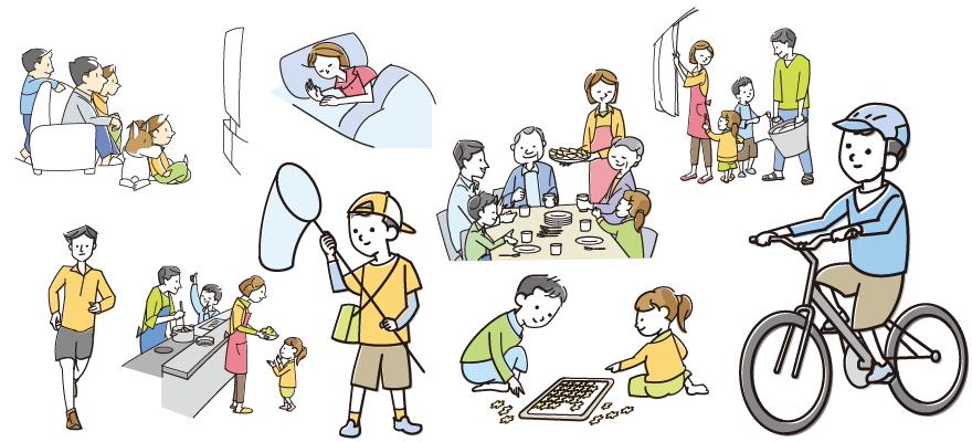 夏休の様々なシーン